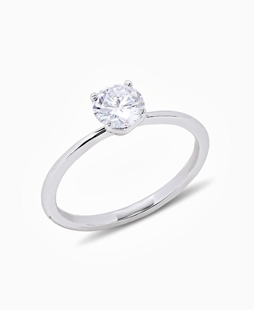 Перстень з білого золота Mono S00111  з діамантом
